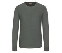 Leichter Pullover feiner Merinowolle Oliv