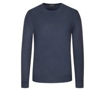 Leichter Wollpullover hochwertiger Merino-Qualität, Vintage-Optik Marine