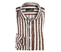 Leinenhemd mit Streifen-Muster, Slim Fit