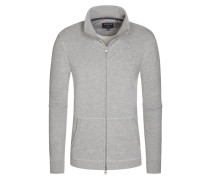 Strickjacke, Logo Track, Regular Fit in Grau für Herren