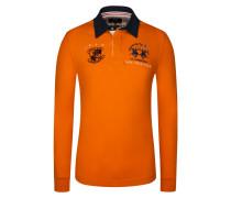 Poloshirts, Langarm, Slim Fit in Orange für Herren
