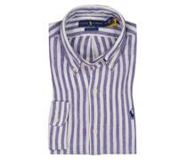 Leinenhemd mit Streifen, Custom Fit Royal