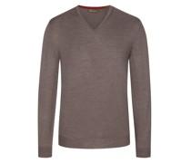 Pullover Merino-Qualitätmit Ellenbogenpatches Taupe