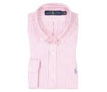 Leinenhemd mit Streifenmuster, Custom Fit Rosa
