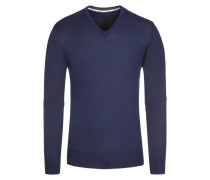 Pullover, V-Ausschnitt mit Patch in Blau für Herren