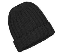 Strick-Mütze aus reiner Baumwolle in Schwarz