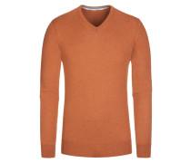 Pullover, V-Ausschnitt mit Patch in Orange für Herren
