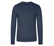 Leichter Pullover mit Brusttasche100% Merinowolle Marine