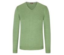 V-Ausschnitt Pullover mit Patches Gruen