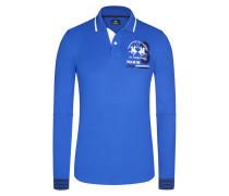Poloshirt, Langarm in Blau für Herren
