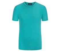 T-Shirt aus Leinen mit Stretchanteil Tuerkis