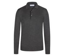 Hochwertiges Poloshirt aus Strick100% Merinowolle Anthrazit