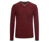 Klassischer Pullover mit V-Ausschnitt Bordeaux