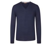 Pullover mit Ärmelpatches, 100% Merinwolle Dunkel