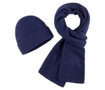 Schal und Mütze, Set in Blau für Herren