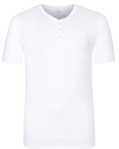 Shirt mit Serafino-Kragen in Weiss für Herren