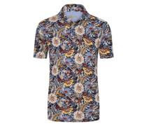 Poloshirt mit Blumen-Muster Marine