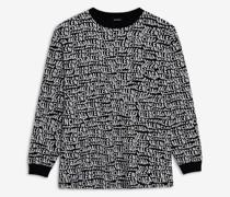 Langärmeliges Oversize-t-shirt Mit Logo-welle