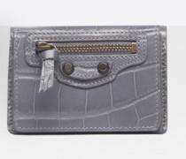 Classic Gold Mini Wallet mit Kroko-Prägung