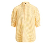 Gingan-Bluse aus Leinen