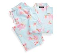 Bedruckter Baumwoll-Pyjama mit Caprihose