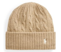 Woll-Kaschmir-Mütze mit Zopfmuster