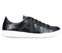 Sneaker aus Leder mit Kroko-Prägung