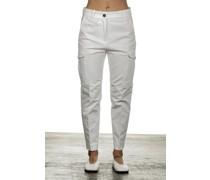 Cropped-Cargo Hose mit hohem Bund weiß