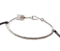 Silber Armband BR1116 mit Leder schwarz silber