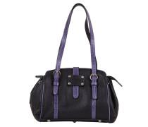 Damen Lederhandtasche schwarz violett