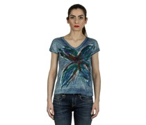 V-Neck T-Shirt mit handbemalten Print mehrfarbig