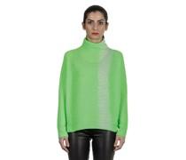Kaschmir Oversize Rollkragenpullover FRAGMENT grün weiß