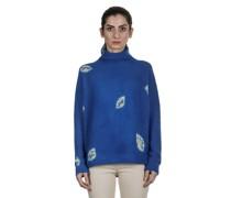 Kaschmir Oversize Rollkragenpullover LEAVES blau grau