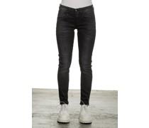 Skinny-Jeans mit hohem Bund schwarz
