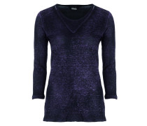 Damen Leinen Shirt 3/4 Arm blau schwarz