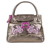 Leder Handtasche grey gold