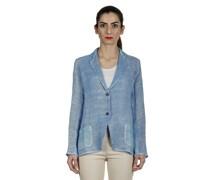 Leinen-Baumwoll-Mix Blazer mit Farbverlauf blau