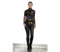 Rollkragen Langarmshirt mit Blumen-Print mehrfarbig