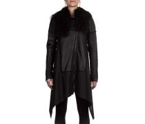 Damen Mantel Lammfell schwarz