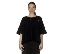 Y's  Cropped-Pullover im Distressed-Look schwarz