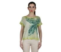 Leinen T-Shirt mit handbemalten Print mehrfarbig