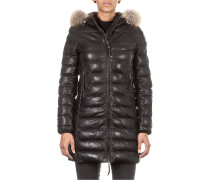 Damen Steppmantel DEMI LEATHER schwarz