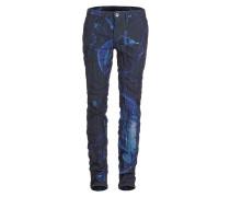Jeans Crashed Look mit Print blau