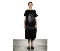 Kurzarmkleid mit Blumen-Print schwarz