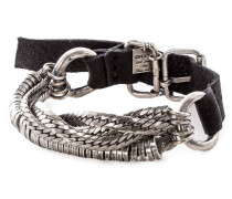 Silber Armband mit Leder BR541 silber schwarz