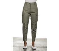 Cropped-Cargo Hose mit hohem Bund khaki