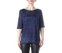 Strick T-Shirt blau