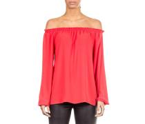 Damen Bluse Carmenausschnitt rot