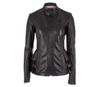Damen Leder Jacke schwarz