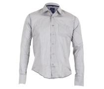 Herren Hemd gestreift hellgrau weiß